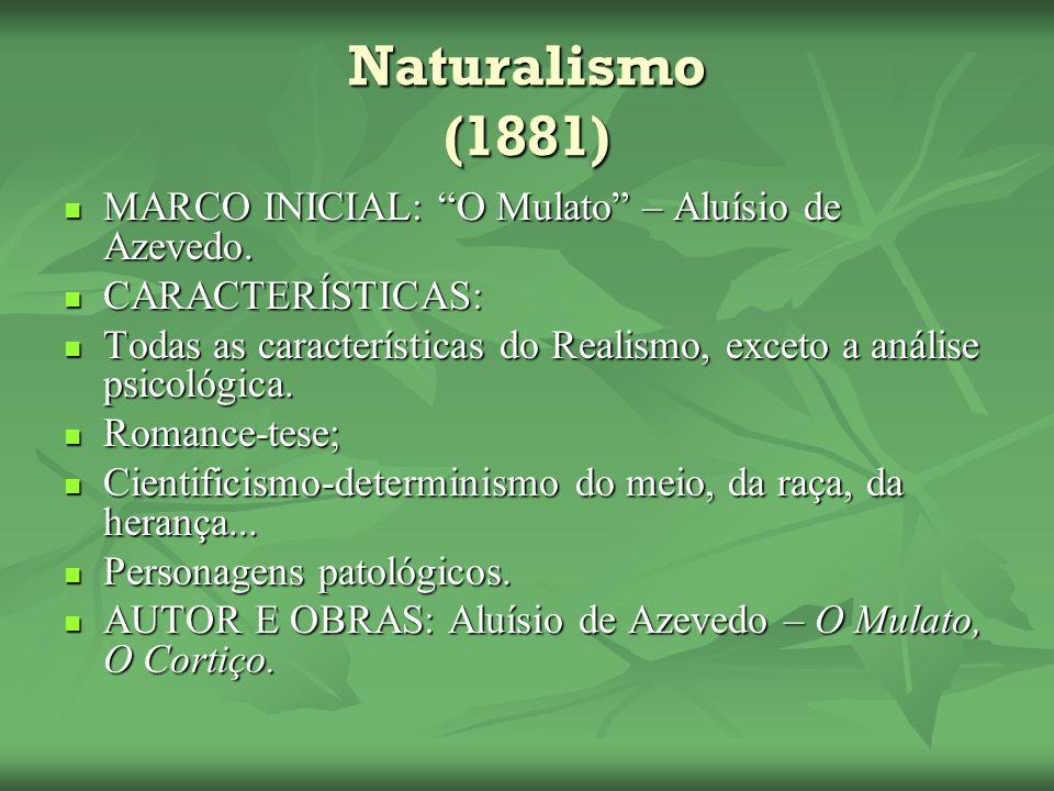 Naturalismo (1881) MARCO INICIAL: O Mulato – Aluísio de Azevedo.