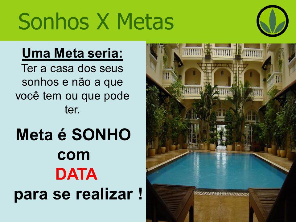 Sonhos X Metas Meta é SONHO com DATA para se realizar !