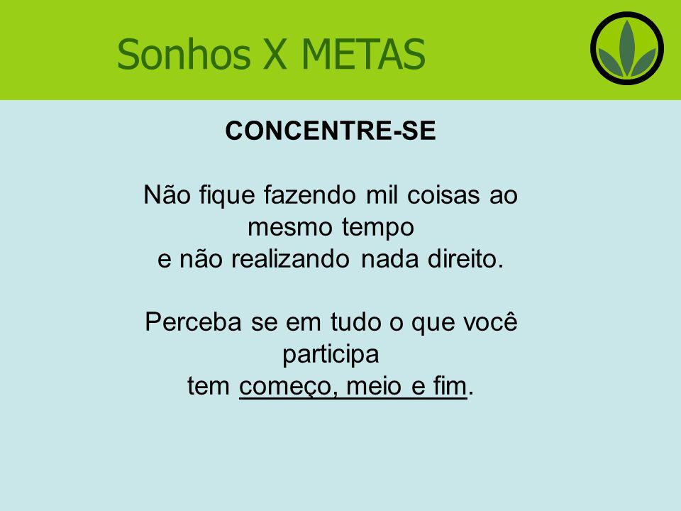 Sonhos X METAS CONCENTRE-SE