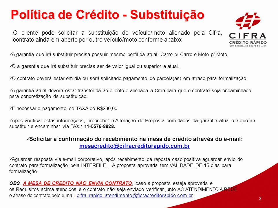 Política de Crédito - Substituição