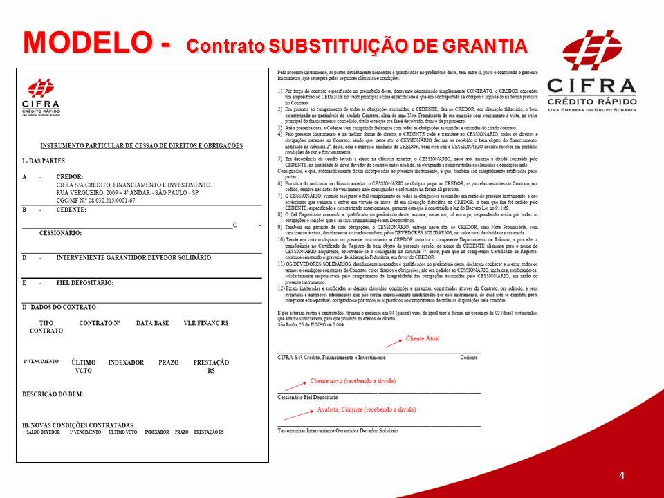 MODELO - Contrato SUBSTITUIÇÃO DE GRANTIA
