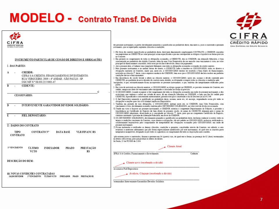 MODELO - Contrato Transf. De Dívida