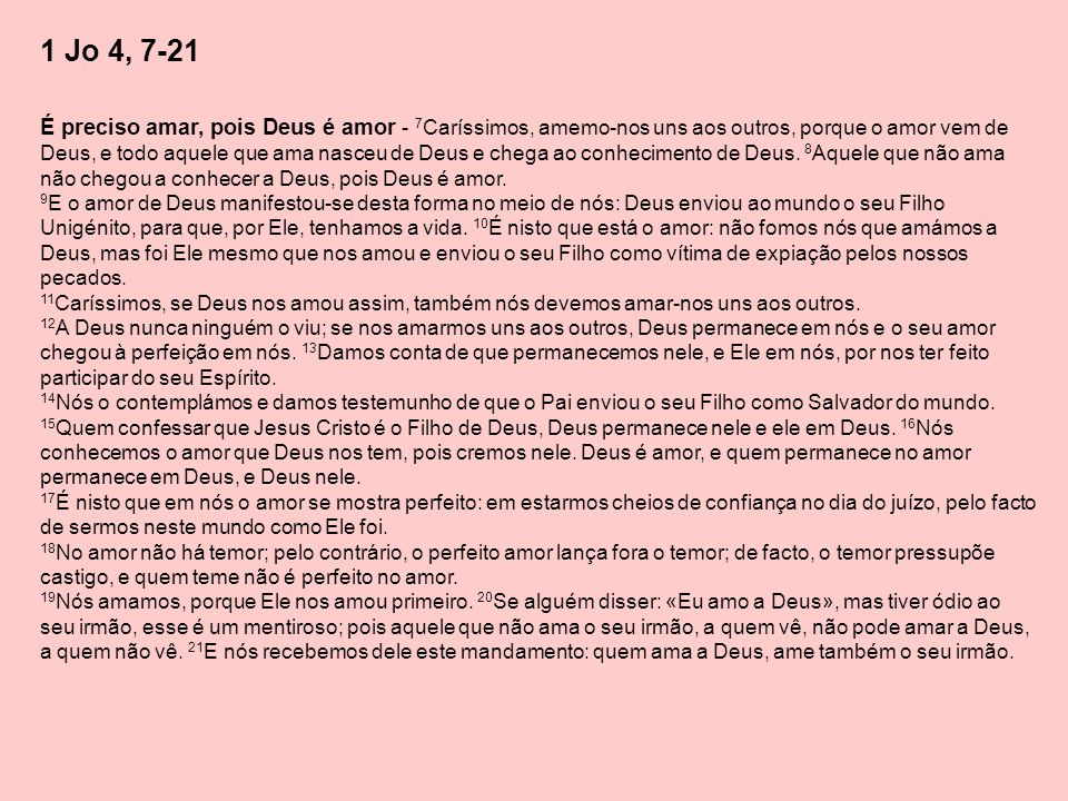 1 Jo 4, 7-21