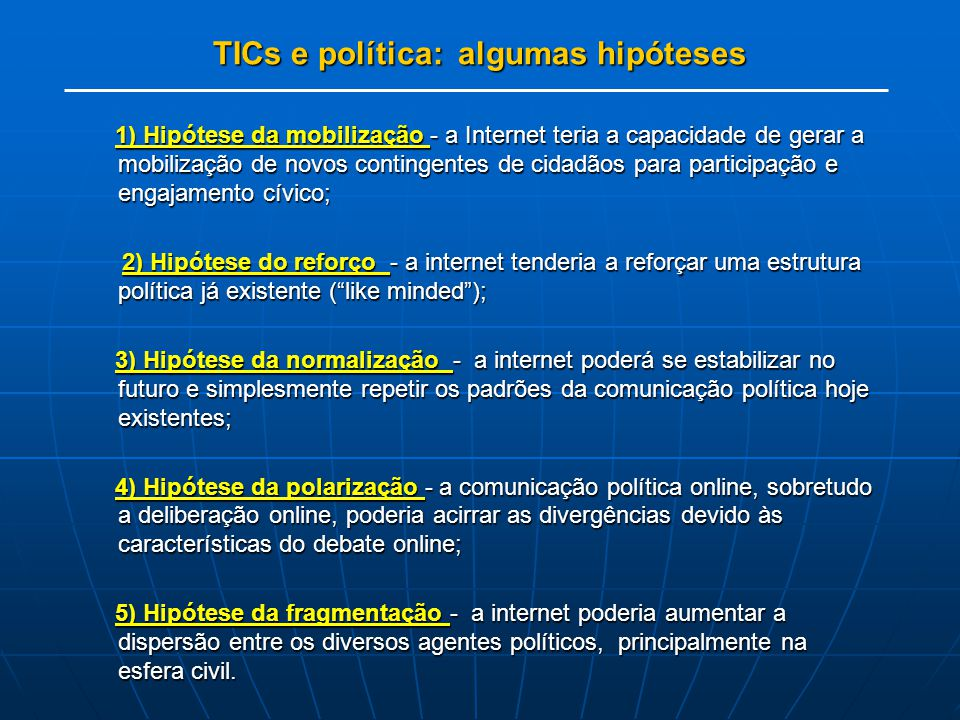 TICs e política: algumas hipóteses