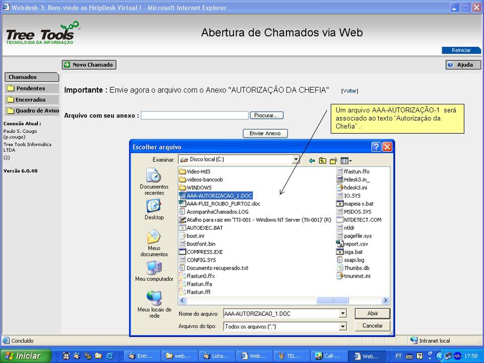 Um arquivo AAA-AUTORIZAÇÃO-1 será associado ao texto Autorizaçào da Chefia .