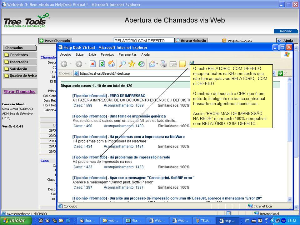O texto RELATÓRIO COM DEFEITO recupera textos na KB com textos que não tem as palavras RELATÓRIO, COM e DEFEITO.