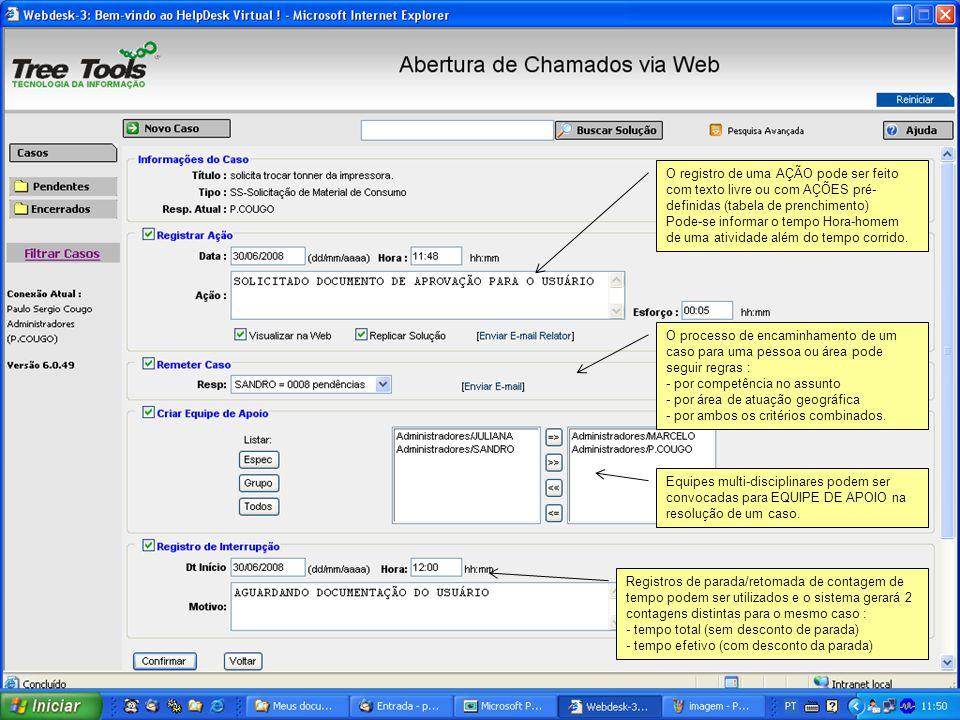 O registro de uma AÇÃO pode ser feito com texto livre ou com AÇÕES pré-definidas (tabela de prenchimento)