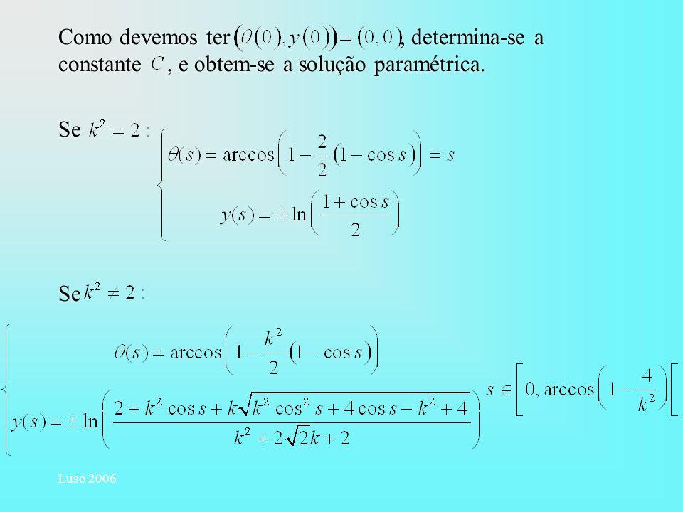 Como devemos ter , determina-se a constante , e obtem-se a solução paramétrica.