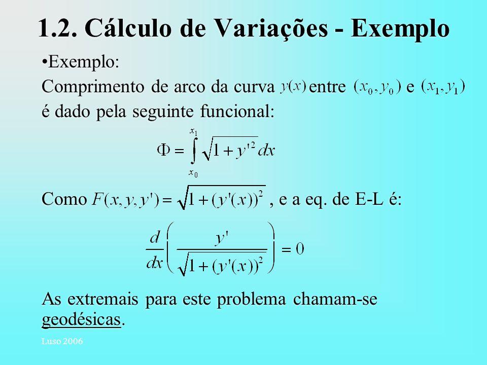 1.2. Cálculo de Variações - Exemplo