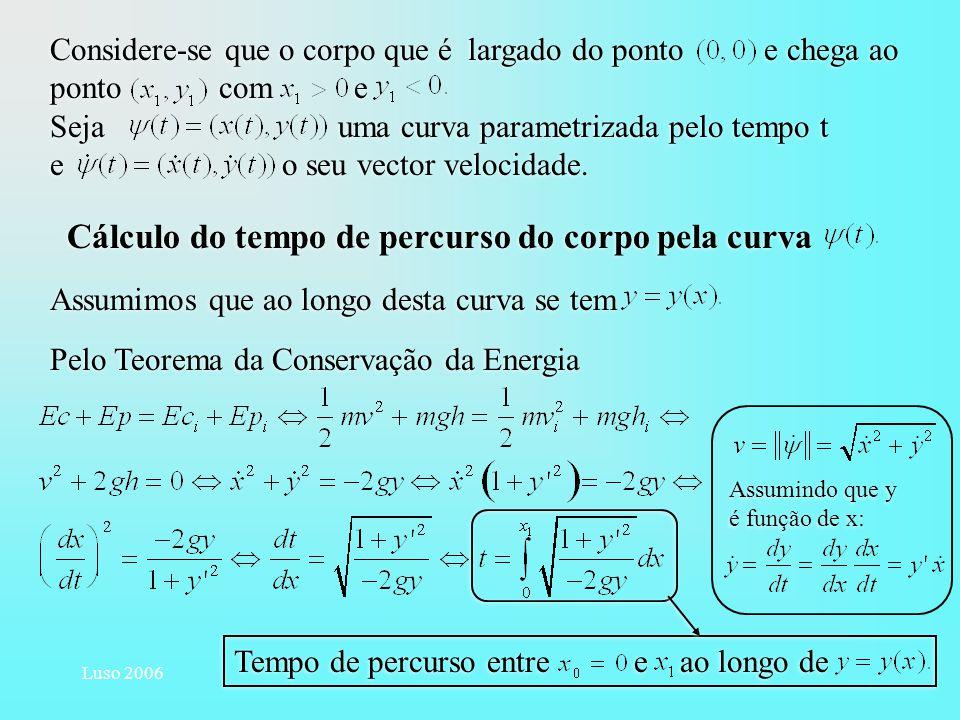 Cálculo do tempo de percurso do corpo pela curva