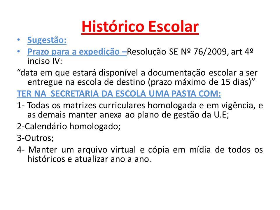 Histórico Escolar Sugestão: