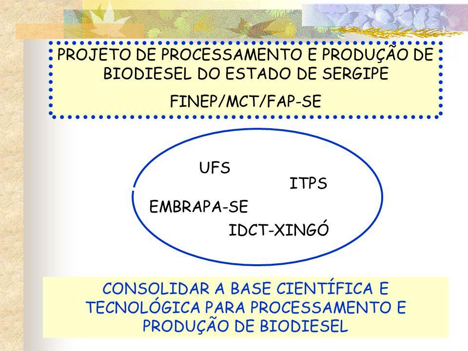 PROJETO DE PROCESSAMENTO E PRODUÇÃO DE BIODIESEL DO ESTADO DE SERGIPE