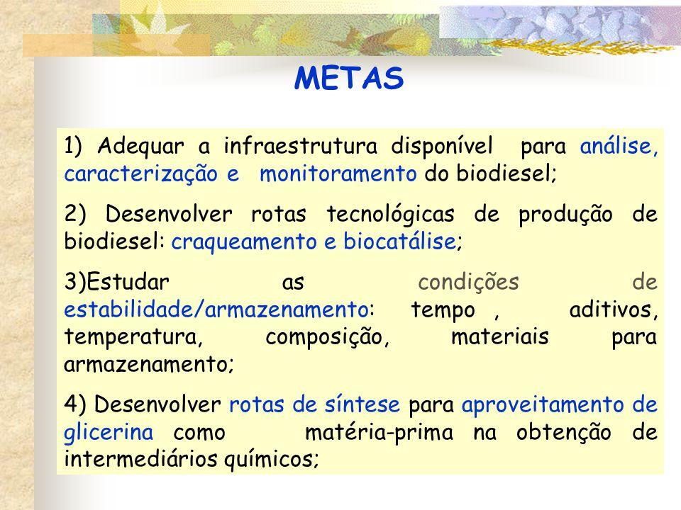 METAS 1) Adequar a infraestrutura disponível para análise, caracterização e monitoramento do biodiesel;