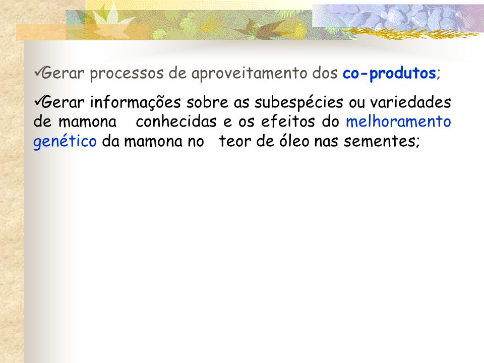 Gerar processos de aproveitamento dos co-produtos;