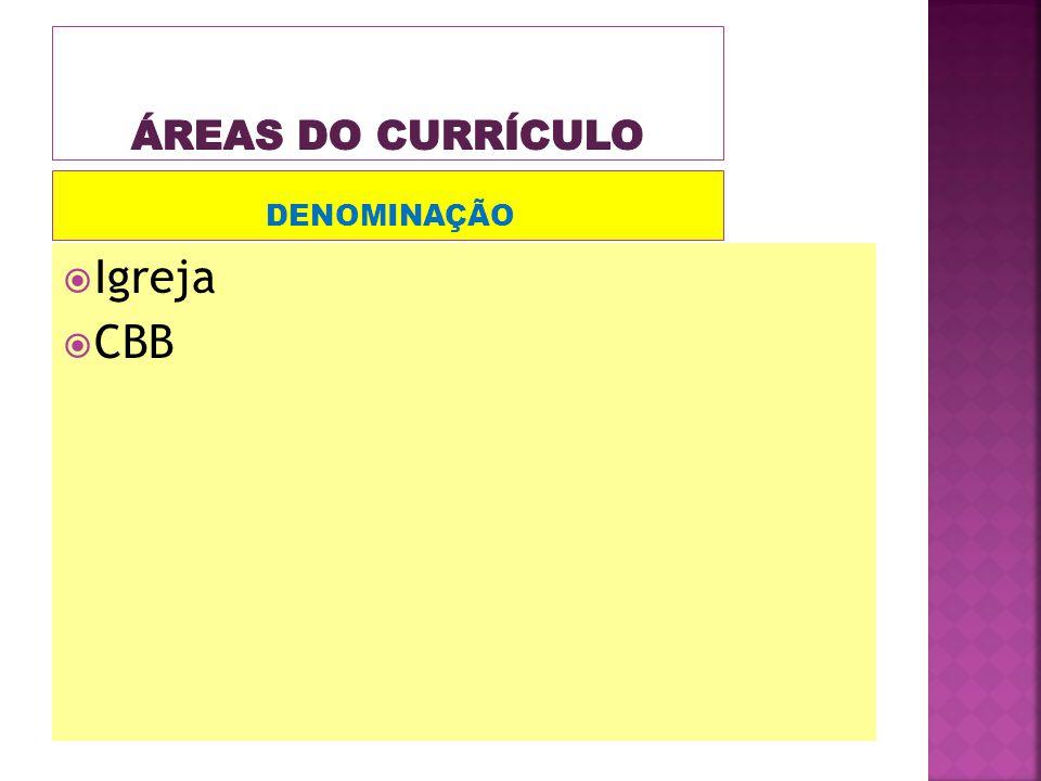 Áreas do currículo DENOMINAÇÃO Igreja CBB