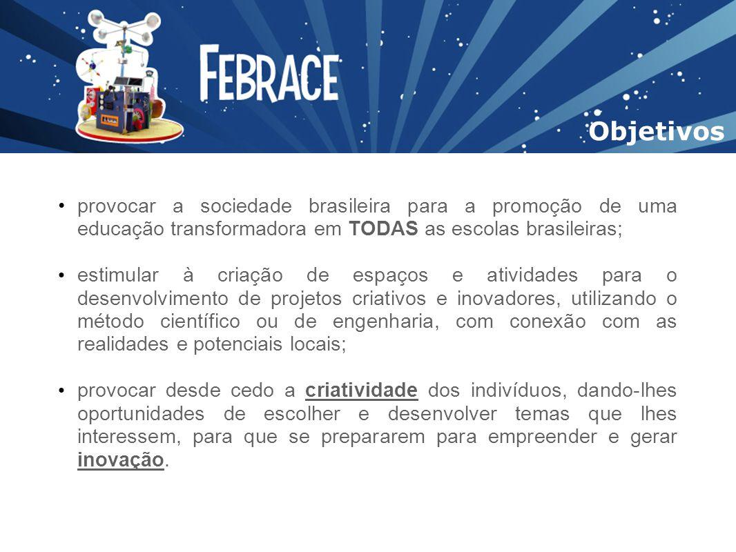 Objetivos provocar a sociedade brasileira para a promoção de uma educação transformadora em TODAS as escolas brasileiras;
