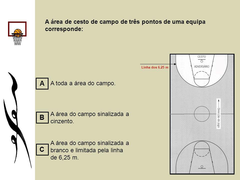 A área de cesto de campo de três pontos de uma equipa corresponde: