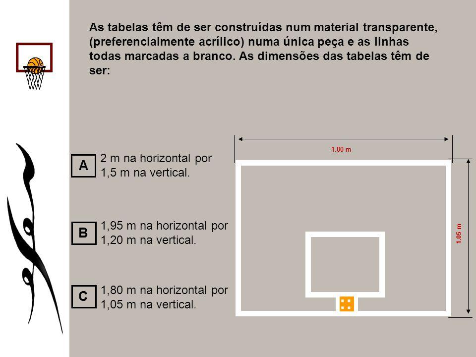 As tabelas têm de ser construídas num material transparente, (preferencialmente acrílico) numa única peça e as linhas todas marcadas a branco. As dimensões das tabelas têm de ser: