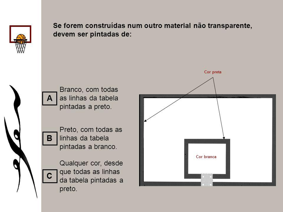 Se forem construídas num outro material não transparente, devem ser pintadas de: