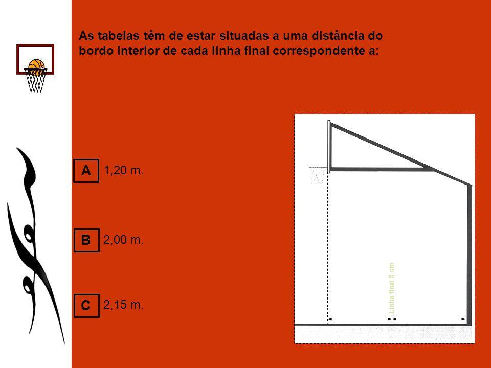 As tabelas têm de estar situadas a uma distância do bordo interior de cada linha final correspondente a: