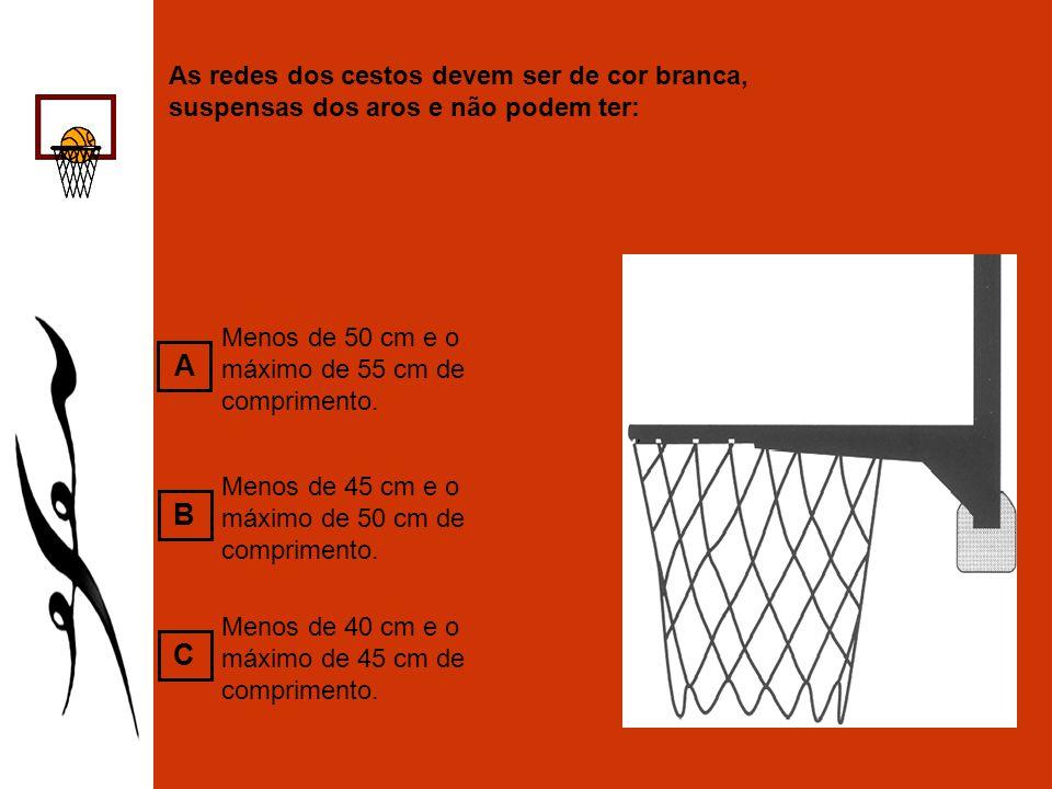As redes dos cestos devem ser de cor branca, suspensas dos aros e não podem ter: