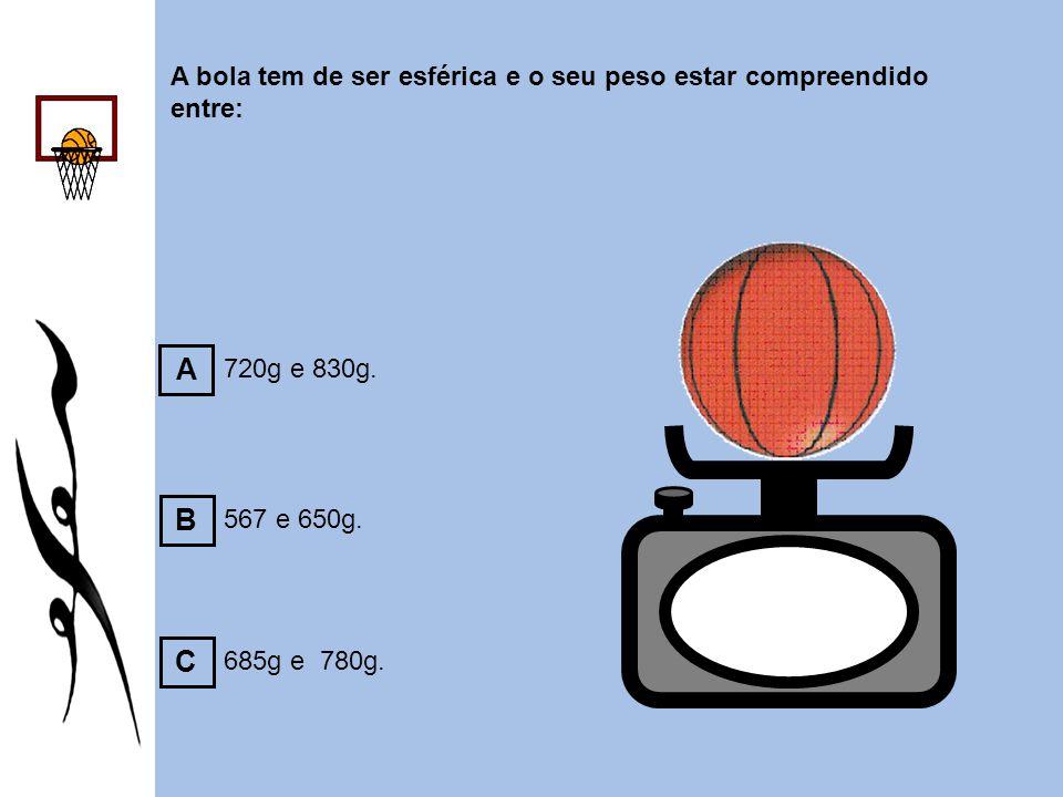 A bola tem de ser esférica e o seu peso estar compreendido entre:
