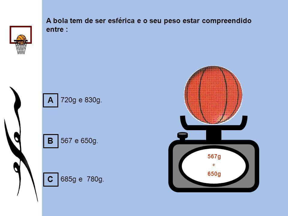 A bola tem de ser esférica e o seu peso estar compreendido entre :