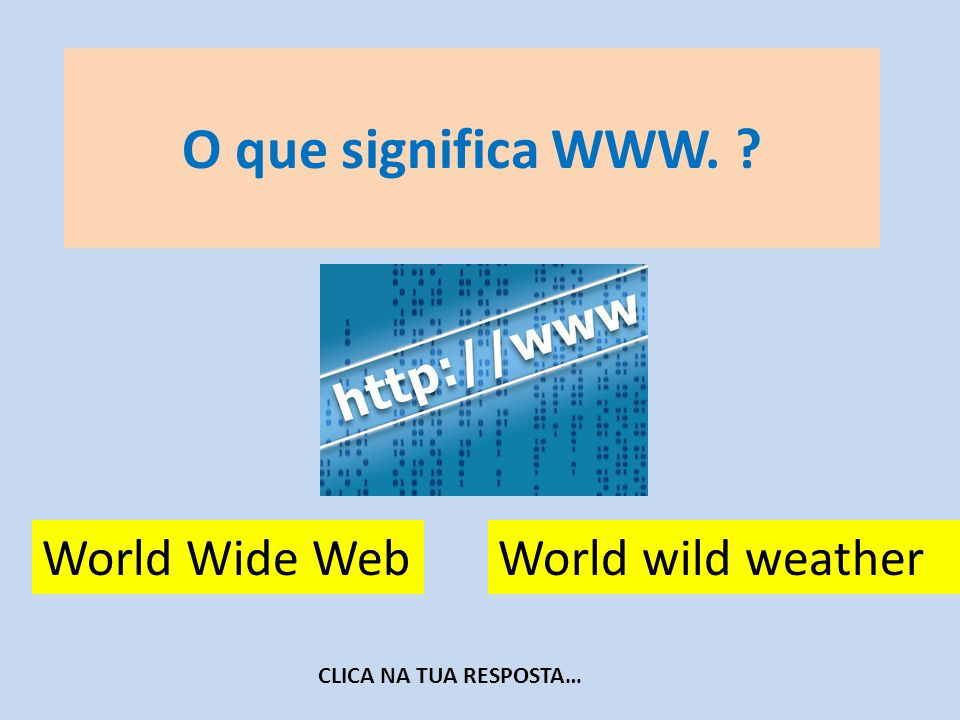O que significa WWW. World Wide Web World wild weather