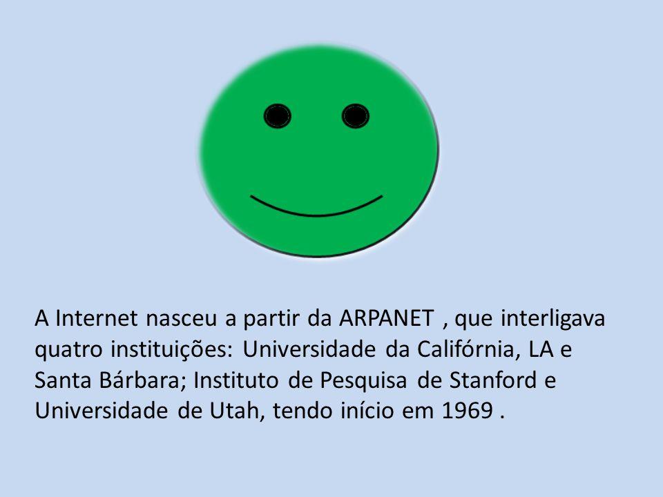 A Internet nasceu a partir da ARPANET , que interligava quatro instituições: Universidade da Califórnia, LA e Santa Bárbara; Instituto de Pesquisa de Stanford e Universidade de Utah, tendo início em 1969 .