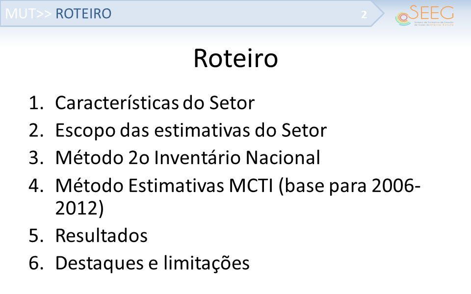 Roteiro Características do Setor Escopo das estimativas do Setor