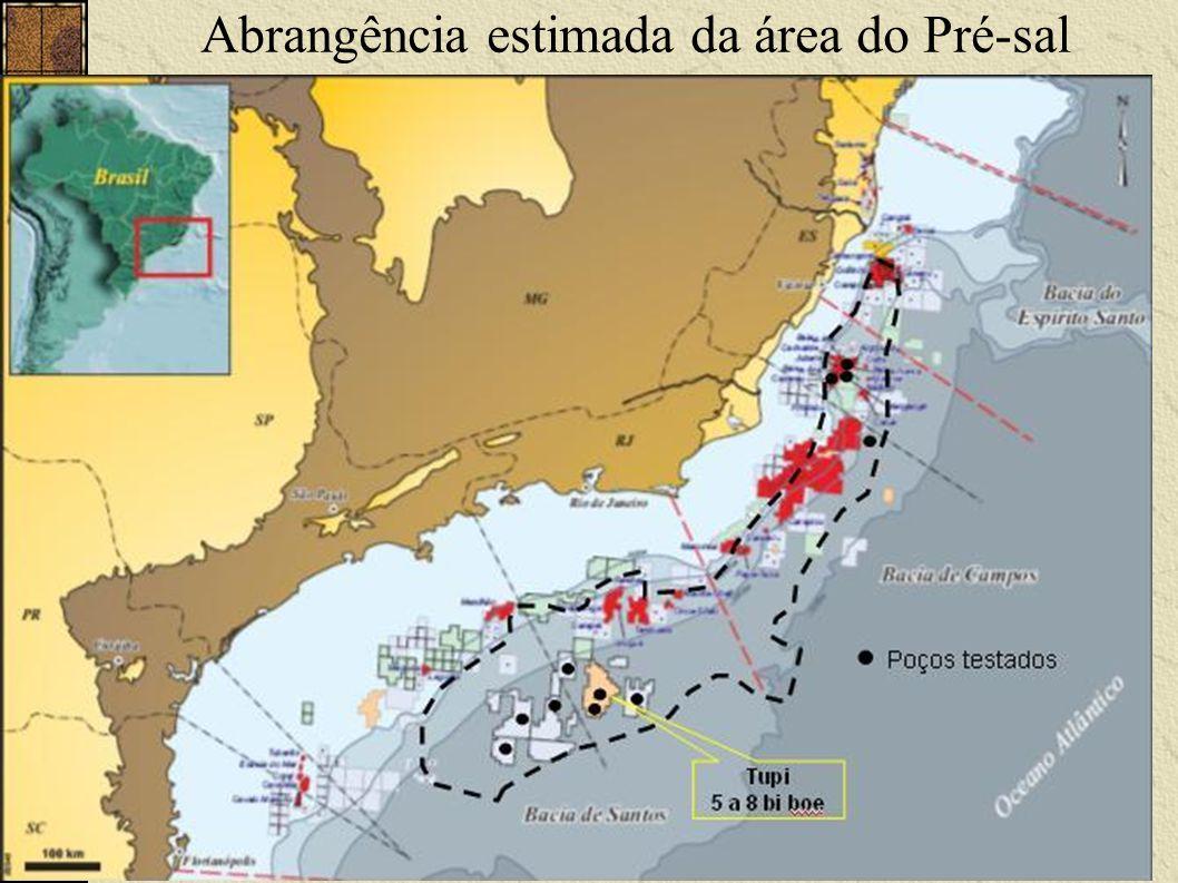 Abrangência estimada da área do Pré-sal