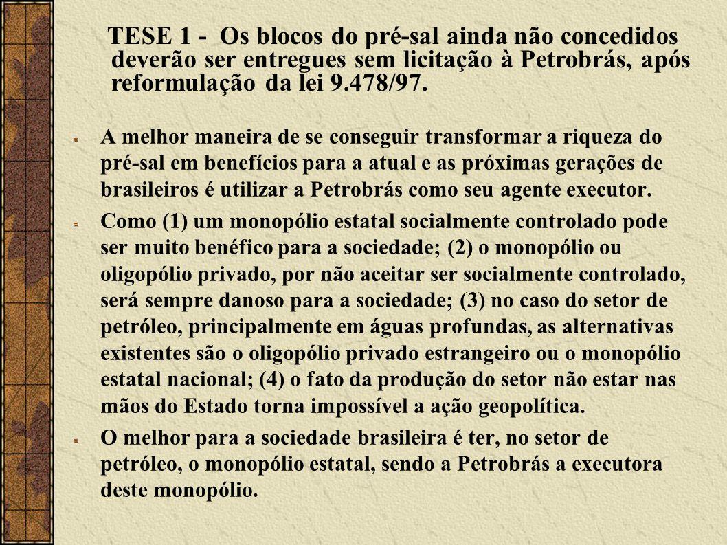 TESE 1 - Os blocos do pré-sal ainda não concedidos deverão ser entregues sem licitação à Petrobrás, após reformulação da lei 9.478/97.