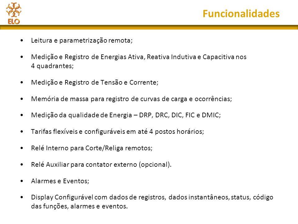 Funcionalidades Leitura e parametrização remota;