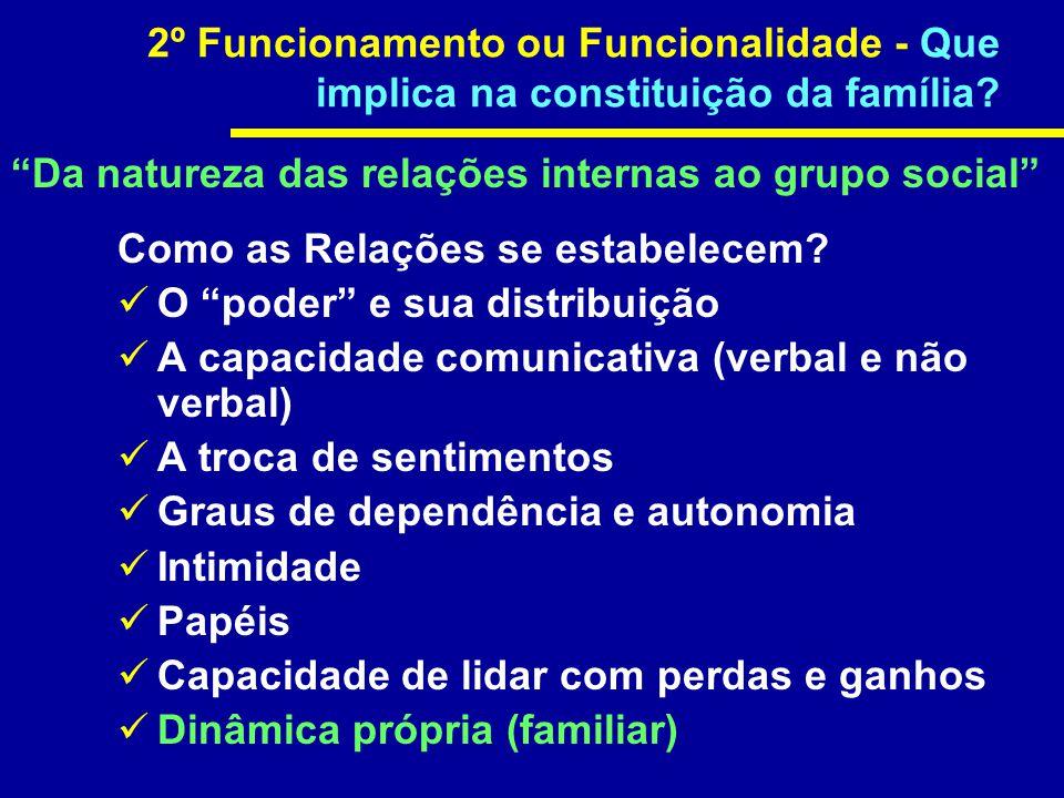 2º Funcionamento ou Funcionalidade - Que implica na constituição da família