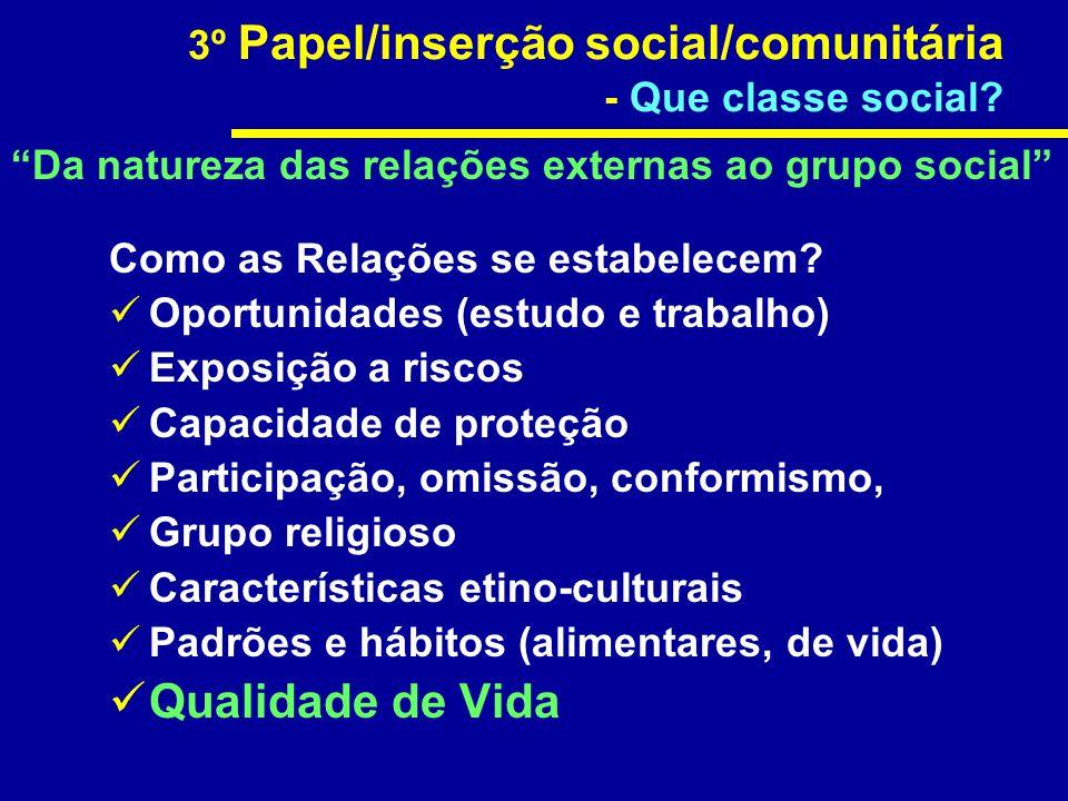 Qualidade de Vida 3º Papel/inserção social/comunitária
