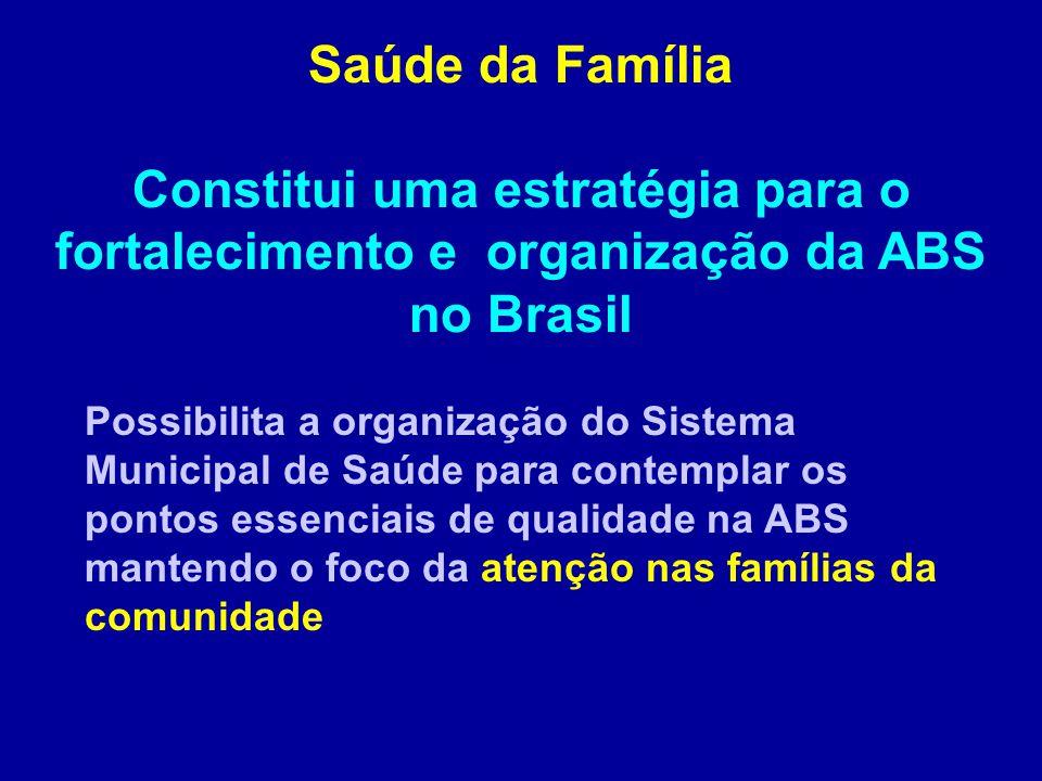 Saúde da Família Constitui uma estratégia para o fortalecimento e organização da ABS no Brasil.
