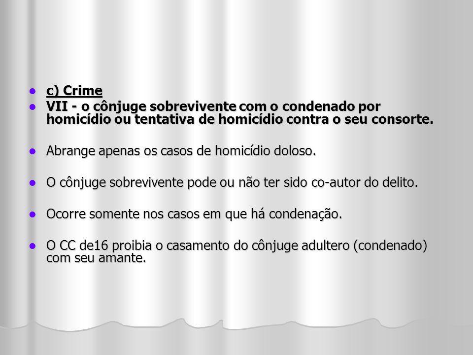 c) Crime VII - o cônjuge sobrevivente com o condenado por homicídio ou tentativa de homicídio contra o seu consorte.
