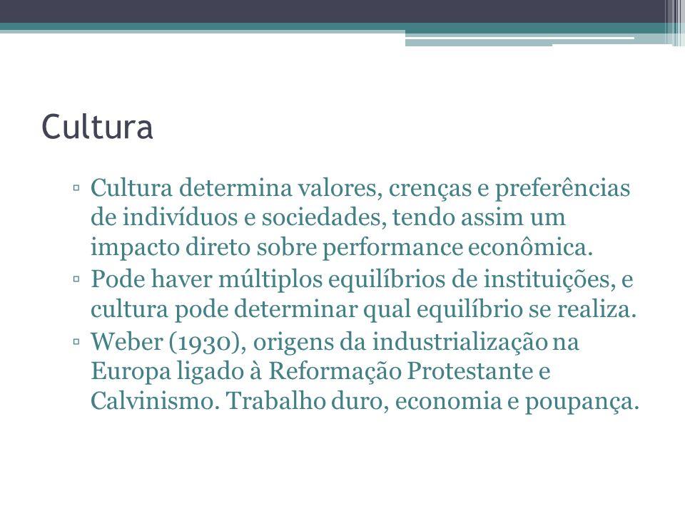 Cultura Cultura determina valores, crenças e preferências de indivíduos e sociedades, tendo assim um impacto direto sobre performance econômica.
