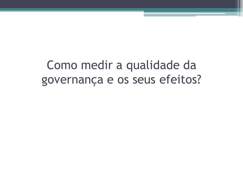 Como medir a qualidade da governança e os seus efeitos