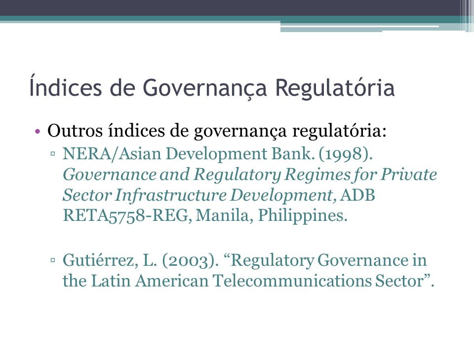 Índices de Governança Regulatória
