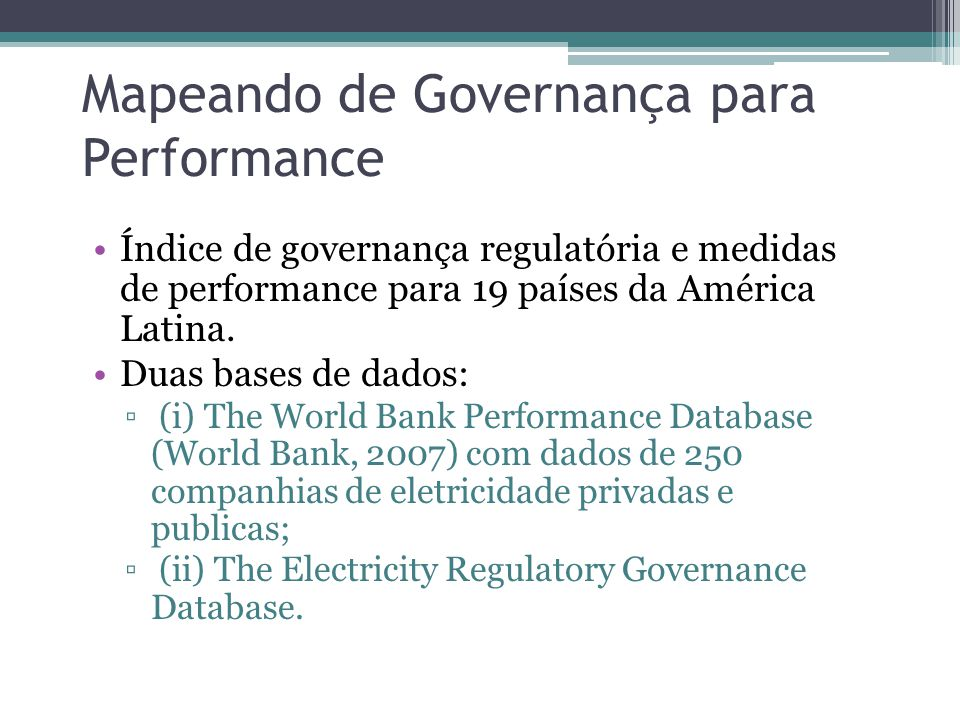 Mapeando de Governança para Performance