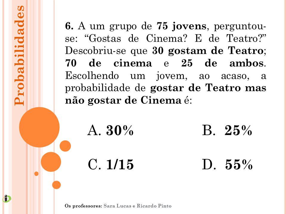 30% B. 25% C. 1/15 D. 55% Probabilidades