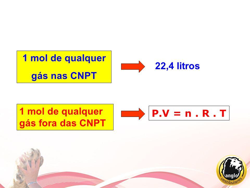 1 mol de qualquer gás nas CNPT 22,4 litros 1 mol de qualquer gás fora das CNPT P.V = n . R . T
