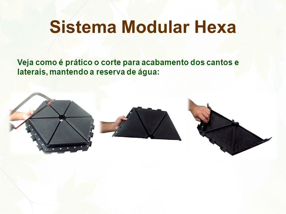 Sistema Modular Hexa Veja como é prático o corte para acabamento dos cantos e laterais, mantendo a reserva de água:
