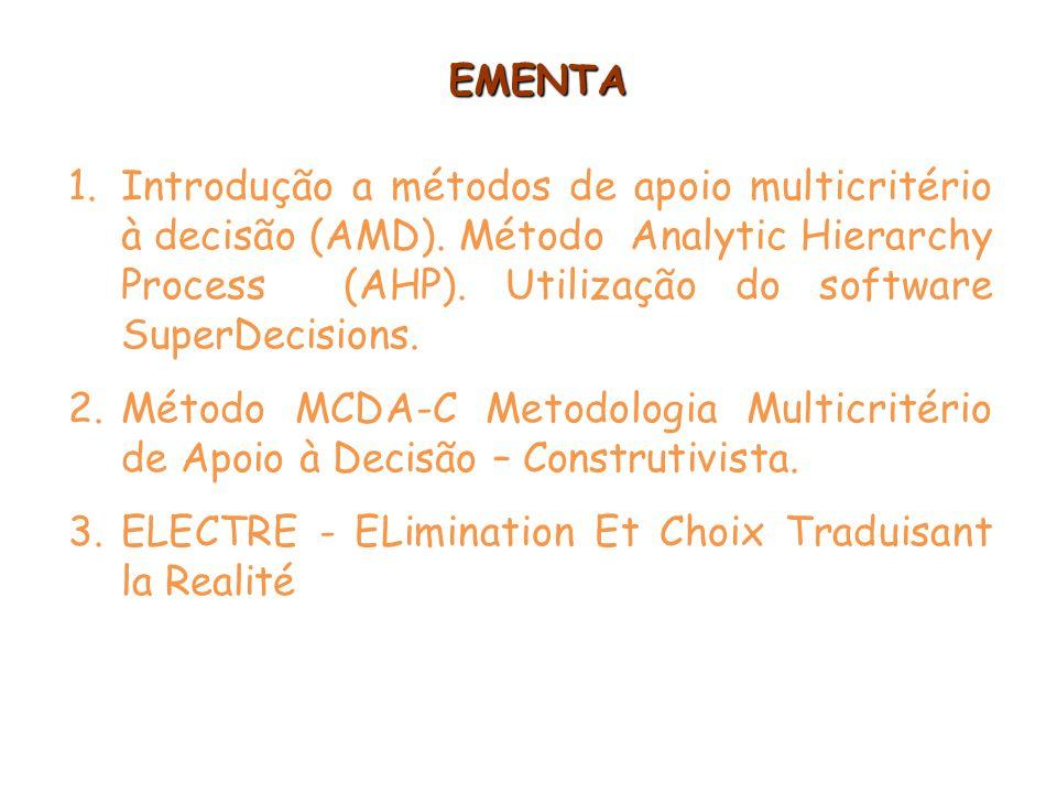 EMENTA Introdução a métodos de apoio multicritério à decisão (AMD). Método Analytic Hierarchy Process (AHP). Utilização do software SuperDecisions.