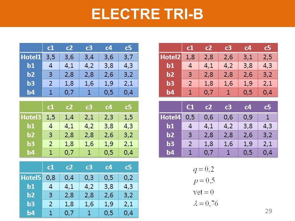 ELECTRE TRI-B c1 c2 c3 c4 c5 Hotel1 3,5 3,6 3,4 3,7 b1 4 4,1 4,2 3,8