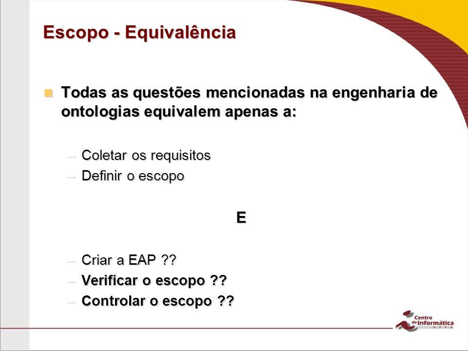 Escopo - Equivalência Todas as questões mencionadas na engenharia de ontologias equivalem apenas a: