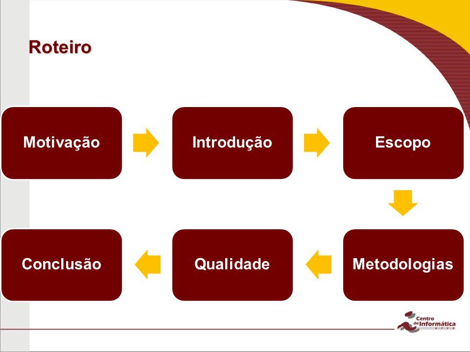 Roteiro Motivação Introdução Escopo Metodologias Qualidade Conclusão