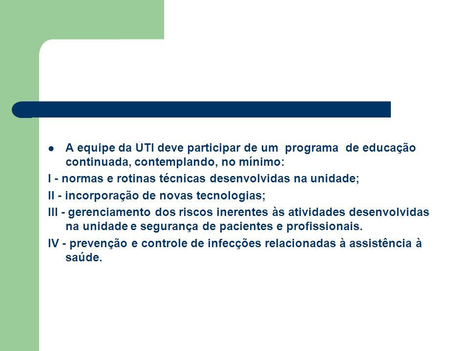 A equipe da UTI deve participar de um programa de educação continuada, contemplando, no mínimo: