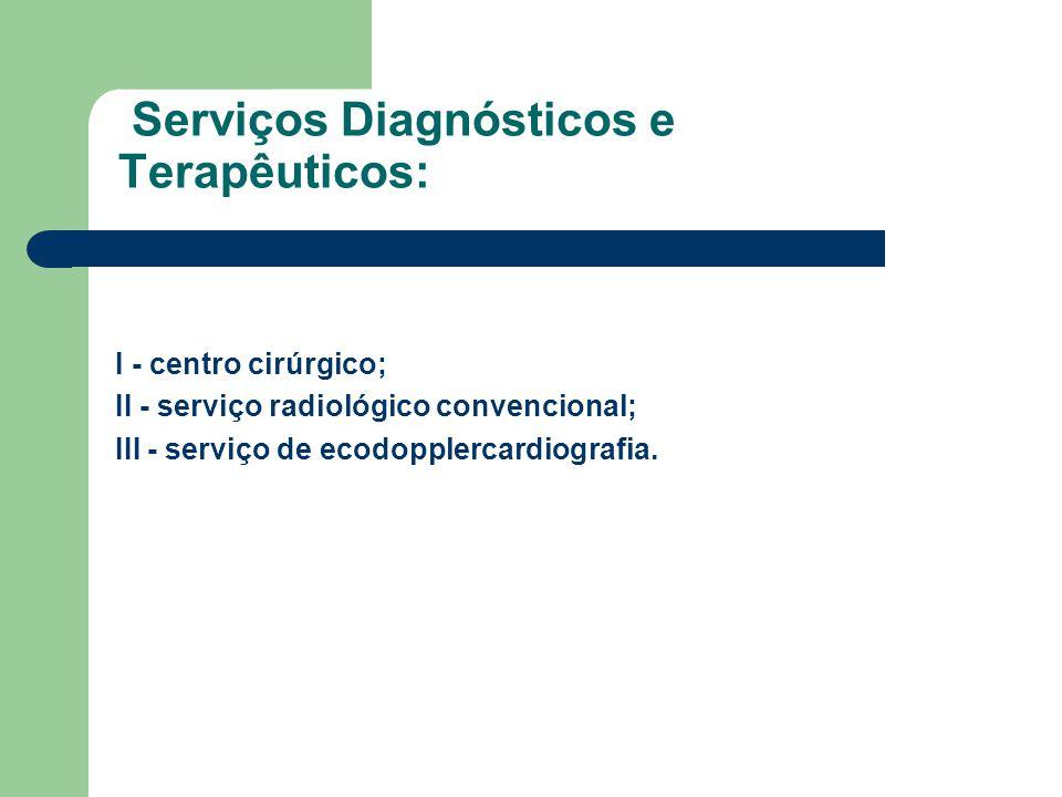 Serviços Diagnósticos e Terapêuticos: